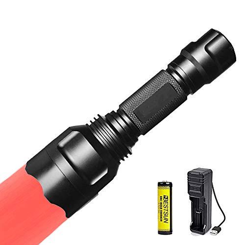 Linterna de luz roja, linterna de caza roja Linternas de señal Zoom capaz 1 Modo para visión nocturna Astronomía Pesca Aviación