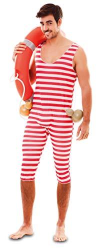 TrendLineMix Herren Kostüm 20er 30er Jahre Badeanzug rot weiß Geringelt Größe 52 M/L