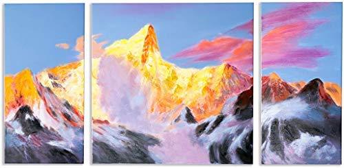 Schilderij -Handgeschilderd op canvas - 3-Luik Golden Mount Everest - 120X60 cm - Art Mall