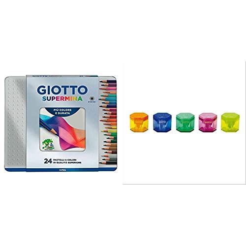 Giotto 236800 Supermina Scatola Metallo 24 Pastelli Colorati, Multicolore & Temperamatite 3 Fori Assortiti 233000