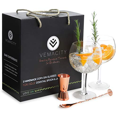 Gin Glasses for Gin Lovers-Set of 2 Handmade G&T Glasses (700ml)| Rose Gold Pro Cocktail Spoon and Double-Sided Jigger | Large Cocktail Glasses in a Gift Box- Authentic Copa Glasses by VEMACITY