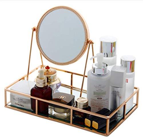 Storage Rack Mädchen Make-up Box Einfaches Spiegelglas Kosmetik-Aufbewahrungsfach Nordic Art-Dekoration Frisierkommode Schmuck Tray Anzeigen-Aufbewahrungsbehälter (Farbe: Gold, Größe: 30X18.5X5.2CM) 1