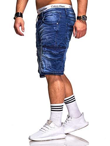 Rello & Reese Rello & Reese Herren Cargo Designer Shorts Jeans Kurze Hose Sommer Bermuda (W30, 8879 (Blau))