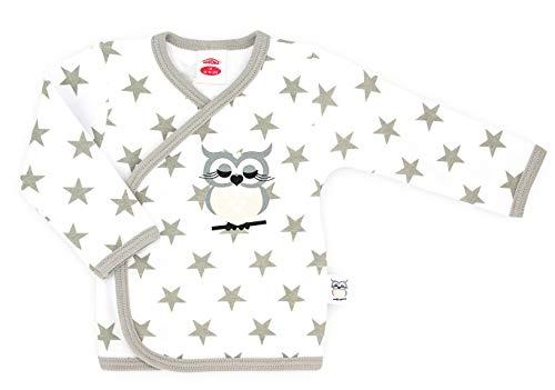 Makoma Baby Langarm Wickelshirt Flügelhemd Wickelpullover Mädchen Babykleidung Weiß Eule & Teddy (68, Eule)