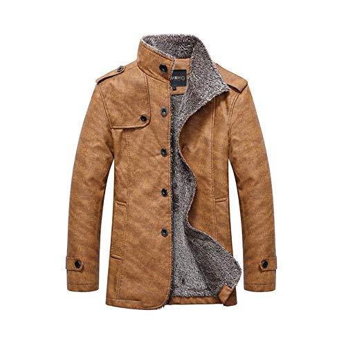 HUAZONG Abrigos de lana de invierno Peacoat Stand Collar grueso cálido gabardina forro polar al aire libre multi bolsillos chaquetas