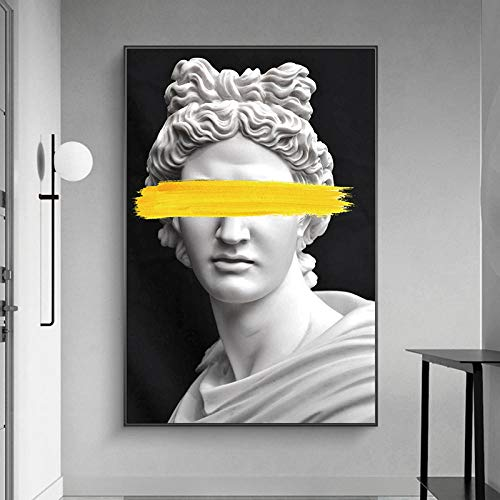 WKHRD Marmorskulptur von Apollo Leinwand Kunst Poster Vaporwave Statue Kunst Griechischer Gott Gemälde Wandkunst Drucke Bilder für Wohnzimmer   60X90cm (kein Rahmen)