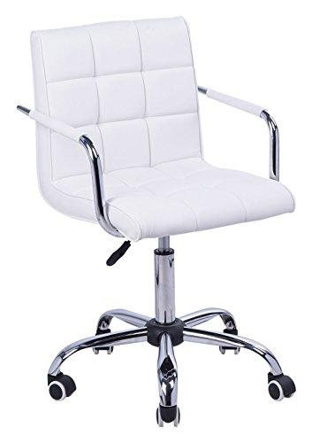 HOMCOM Bürostuhl Drehstuhl Kosmetikhocker Rollhocker Drehhocker Arbeitshocker Chefsessel Stuhl Schreibtischstuhl Metall PU Weiß 52,5 x 54 x 82-94 cm