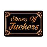 Muikoo Front Door Mat Welcome Mat Shoes Off Fuckers Washable Rubber Non Slip Backing Funny Doormat Indoor Outdoor Rug 23.6'(W) X 15.7'(L)