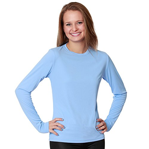 Nozone Versa-T - Camiseta de manga larga para mujer (protección solar UPF 50+, talla L), color azul