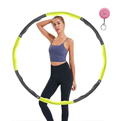 MELARQT Hula Hoop zur Gewichtsreduktion,6-8 Segmente Abnehmbarer 1kg Hoola Hoop für Erwachsene & Kinder,mit Mini-Maßband (Grün)