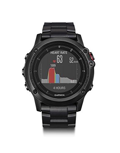 Garmin 010–01338–7B fēnix 3HR GPS de Course, Titane avec DLC Band, 3cm