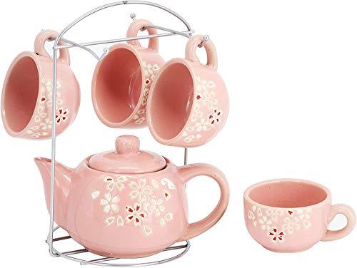 6 sets de cerámica, pequeños juegos de té de café floral, alta temperatura, resistencia al desgaste, no fácil de desvanecer,Pink