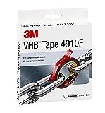 3M VHB Cinta Adhesiva 4910F - diseño transparente que permite unir material transparente y conseguir una línea de unión prácticamente invisible - 19 mm X 3 m, transparente, espesor 1.0mm (1 unidad)
