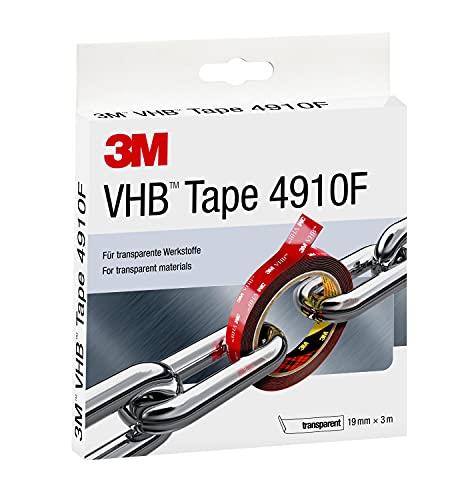 3M VHB 4910F, Ruban Adhésif Mousse Double Face - pour Créer des Assemblages de Matériaux Transparents ou Partout où un Collage Transparent est Nécessaire - Transparent, 19 mm x 3 m, 1.0 mm (1 Rouleau)