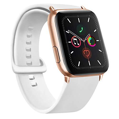 Gomei Cinturino Compatibile per Apple Watch 44mm 38mm 42mm 40mm, Silicone Cinturino Impermeabile in Traspiranti Morbidi per iwatch Serie 6, 5, 4, 3, 2, 1, SE (42/44mm M/L, Bianca)