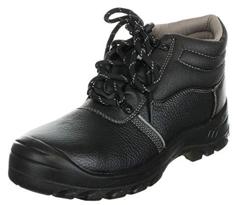 Brandsseller S3 Veiligheidslaarzen voor heren, beschermende laarzen, stalen neus, stalen tussenzool, rundleer, zwart