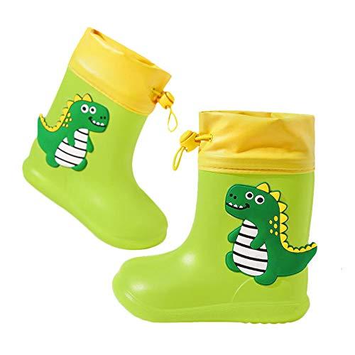 Botas de Agua Unisex Niños Niñas Luces Wellington Botas de Lluvia Impermeable y Antideslizante Rain boots 106 verde EU 24/25 (Tamaño de la etiqueta 160)