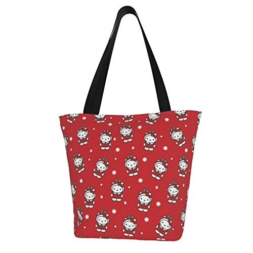 Hello Kitty Christmas Cartoon Totes Carry Bag- Women's Shoulder Handbags Big Capacity Shopping Bag Canvas Handbags Casual Ladies for Shopping Purse portable webbing is strong and durable