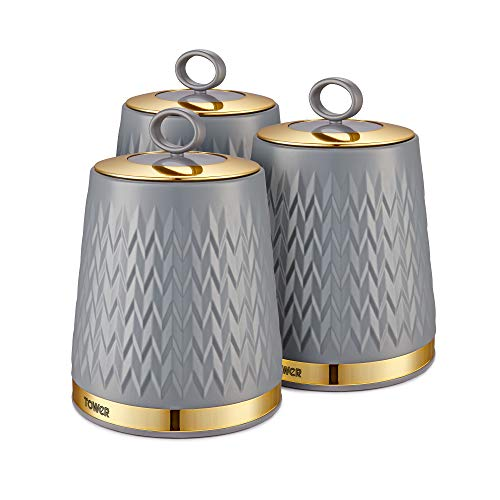Tower T826091GRY Empire Kitchen Storage Canisters, Tea Coffee Sugar Set with Steel Body and Stylish Art Deco Design, Grey