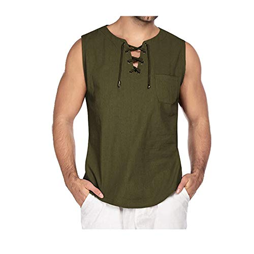 NOBRAND Ärmelloses Herrenhemd, zum Schnüren, modisch, kurzärmelig. Gr. XL, grün