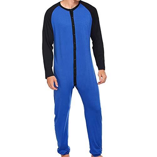 Mens One Piece Pajama Soft Thermal Union Suit Button Down Patchwork Pajamas Sleepwear (Blue/Black, X-Large)