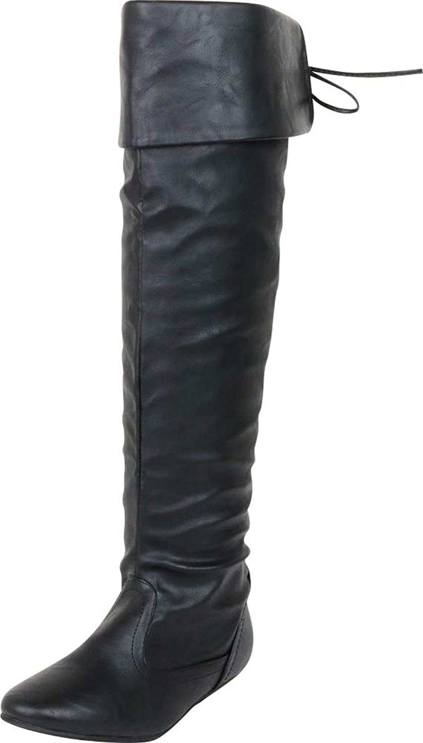 Cambridge Select Women's Thigh-High Fold Over Cuff Back Tie Flat Over The Knee Boot