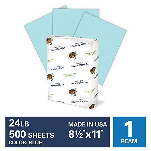 Hammermill Blue Colored 24lb Copy Paper, 8.5x11, 1 Ream, 500 Total Sheets, Made in USA, Sustainably Sourced From American Family Tree Farms, Acid Free, Pastel Printer Paper, 103671R