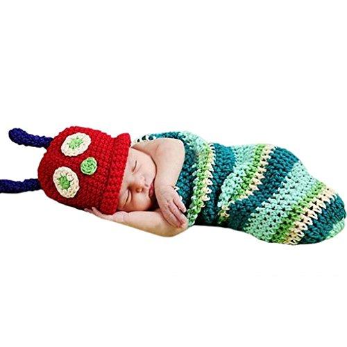 AKAAYUKO Neonato Handmade Cavaliere A Maglia Crochet Costume Fotografia Prop (Bruco)