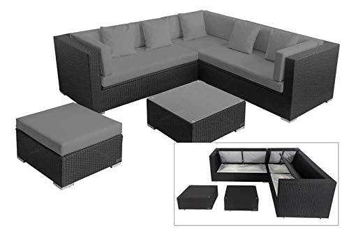 OUTFLEXX Loungemöbel-Set, schwarz, Polyrattan, 6 Personen, wasserfeste Kissenbox, inkl. Kaffeetisch
