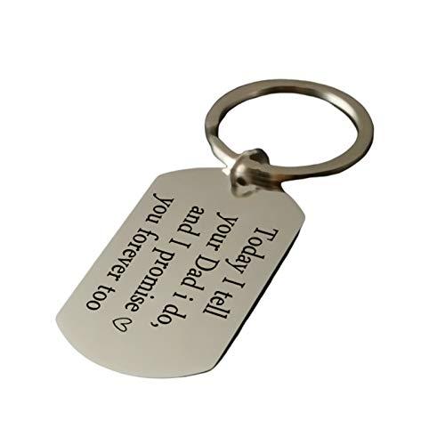 Adokiss Llavero de acero inoxidable, placa de identificación con grabado Today I Tell Your Dadi Do para llaves, llavero, llavero para coche, plata, 2,2 x 3,9 cm