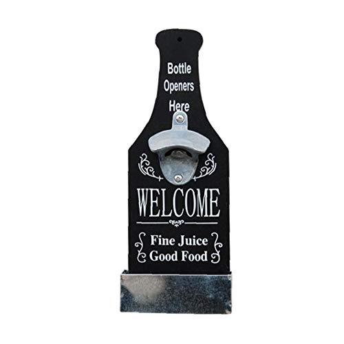 TOPofly Abrebotellas, abrelatas Retro Botella de Cerveza de Madera con la Caja de almacenaje, montado en la Pared de la Botella Herramienta de la Abertura con Palabras en inglés, para la decoración