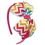 Cerchietto - per capelli - fiocco - colorato - bambina - multicolore - arcobaleno - colore fuxia