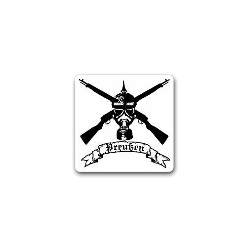 Copytec stickers/sticker - Pruisisch soldaat gasmasker geweer pruisen wapens militair wak leger 7 x 7 cm #A2347