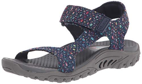 Skechers Sandalias deportivas Qtr para mujer, azul (Azul marino/flor y brillo), 35 EU