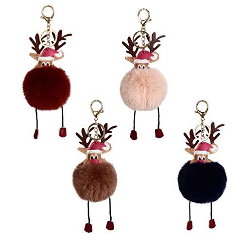 NUOBESTY Weihnachtlicher flauschiger Ball Schlüsselanhänger Elch Kunstfell Schlüsselanhänger Pompon Schlüsselanhänger Tasche Hängende Anhänger für Frauen Mädchen, 4 Stück