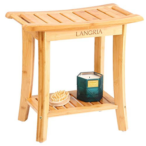 LANGRIA Bamboo Shower Bench Waterproof Wood Shower Chair, Spa Bath Organizer Seat Stool with Rubber Feet Hanging Rods for Indoor or Outdoor Bathroom Shower Seat (18.20'x9.80'x18.80')