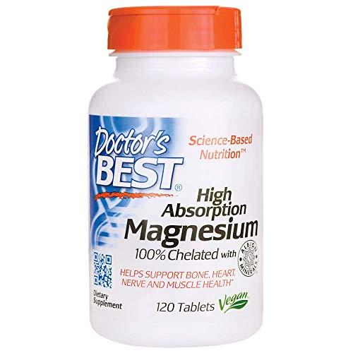 Doctor's Best | High Absorption Magnesium | 100% chelatiert mit TRAACS | 120 vegane Tabletten | glutenfrei