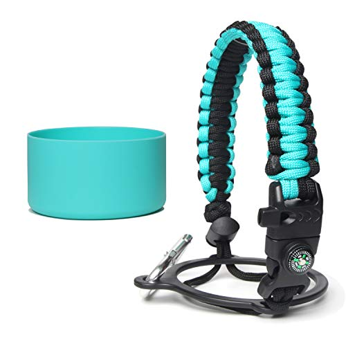 nononfish Paracord Handle Blue for Water Flask 24 oz, with Safety Ring, Carabiner, Compass, Plus Water Bottle Cover and 50 Water Bottle Stickers Waterproof Best Value Set