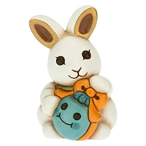 THUN - Coniglio Joy tenero con Uovo Azzurro - Soprammobili - Idea Regalo - Linea Color Your Easter - Ceramica - 6,9x6,9x10 h cm
