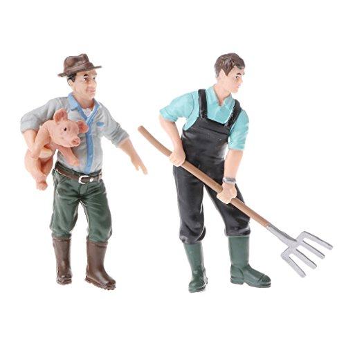 Homyl 2pcs Realistic Farmer Man People Model Figure Figurine Kids Toy Home Decor