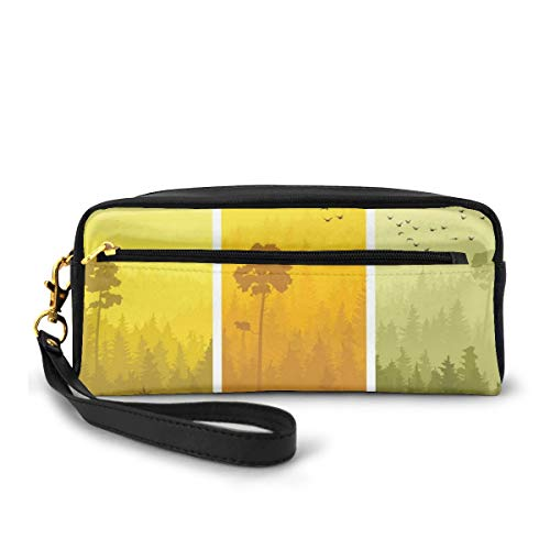 Pencil Case Pen Bag Pouch Stationary,Vertical Banners with Hills Trees and Birds Views from Rural Countryside,Small Makeup Bag Coin Purse