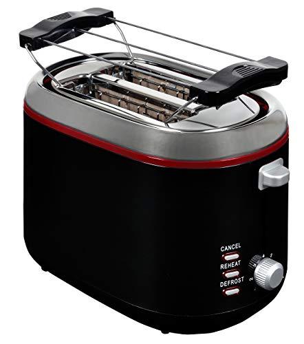 Team Kalorik TKG TO 1020 BR 2-Scheiben Toaster mit Auftau und Aufwärmfunktion, Brötchenaufsatz und Krümelschublade, 850 W, Metall, Kunststoff, Schwarz