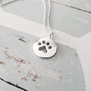 Sterling Silver Round Cut Out Paw Print Pendant Necklace 18