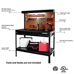 "Multipurpose Lighting and Outlet Comfortable 34"" workbench height for working while seated or standing Peg board, two drawers, and top and bottom shelves"