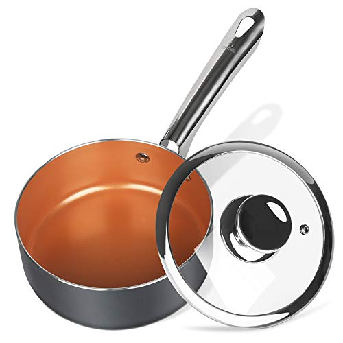 KUTIME 2-Quart Saucepan with Lid, Nonstick Sauce Pan, Copper Small Pot for Cooking, Gas&Induction Compatible, Oven Safe
