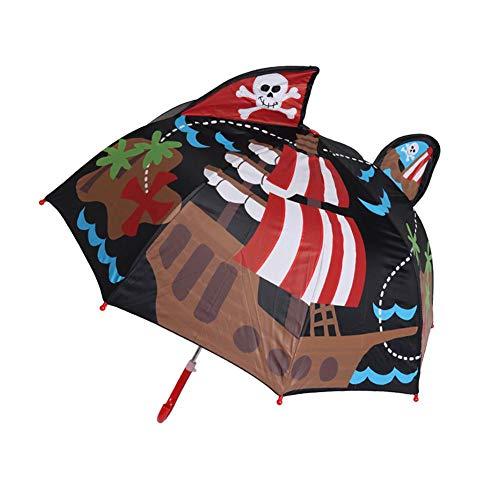 Urben Life Ombrello per Bambini con Motivo Animali 3D,Ombrello con Cupola Trasparenteper Ragazze e Ragazzi
