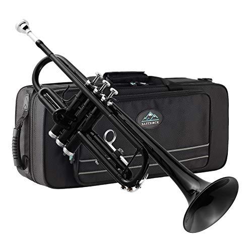 EastRock Schwarz Trompete Bb Messing Standard Trompete mit Hartschale, Handschuhen, Stoff, 7C Mundstück, Musikinstrumenten für Anfänger oder erfahrene Kinder, Erwachsene