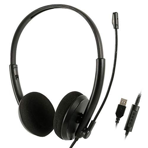 Cuffie USB con microfono per PC Cancellazione del rumore e controlli audio Voce cristallina Super leggera e comoda per le aziende UC Skype Softphone (Binaurale)