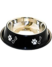 Sage Square Dog Stainless Steel Bowl with Anti Skid/Slip Rubber Base for Food and Water with Squeaky Pet Toy for Pets, Dogs, Puppy, Cat, Kittens