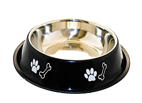 Sage Square Dog Stainless Steel Bowl with Anti Skid/Slip Rubber Base for Food and Water with Squeaky Pet Toy for Pets, Dogs, Puppy, Cat, Kittens (Medium 450ml)